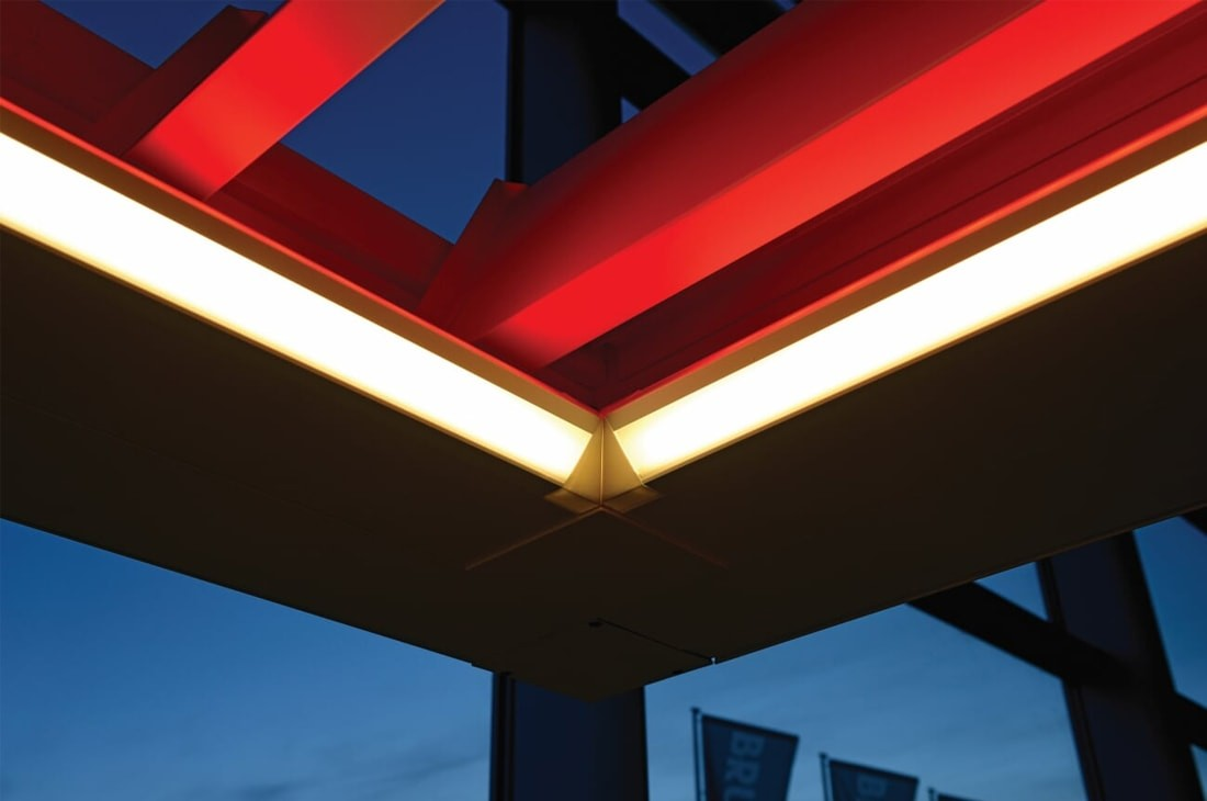 LED lighting for bioclimatic pergolas
