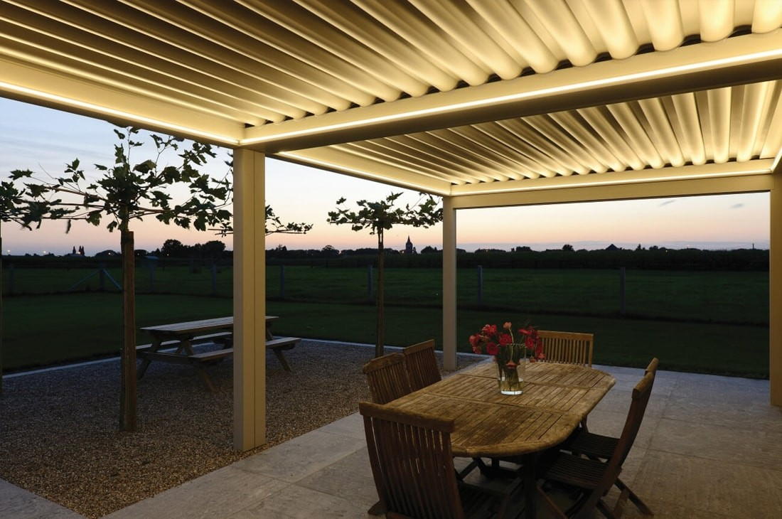 Bioclimatic pergolas UK - lighting systems