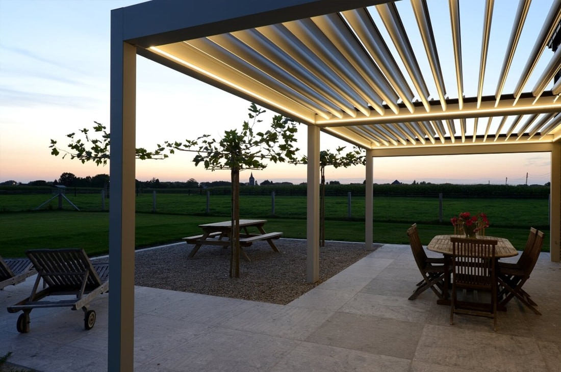 LED lighting for bioclimatic pergolas UK